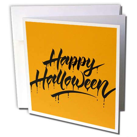 3dRose Sven Herkenrath Celebration - Scary Happy Halloween Quotes with Orange Background - 1 Greeting Card with Envelope (gc_294690_5) ()