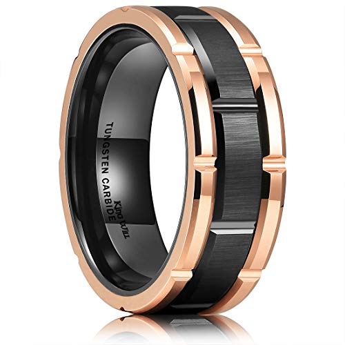 - King Will Mens 8mm Black and Rose Gold Tungsten Carbide Wedding Ring Brick Pattern Brushed Finish 10