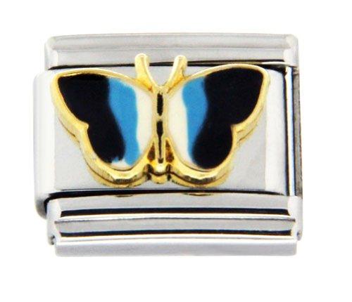 Butterfly Italian Charm Bracelet Link - Blue & White Butterfly Italian Charm Bracelet Link