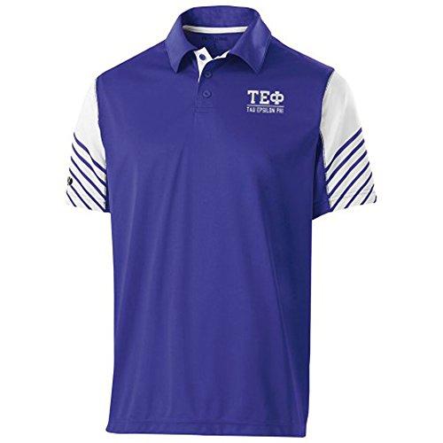 (Greekgear Tau Epsilon Phi Fraternity Arch Polo Large Purple/White)