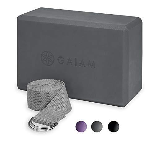 Gaiam Essentials Yoga Block + Yoga Strap Set, Grey