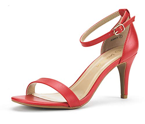 DREAM PAIRS Women's Jenner Red Pu Ankle Strap Stilettos Low Heels Pumps Sandals Dress Shoes Size 6.5 - Ankle Platform Strap Pump Shoes