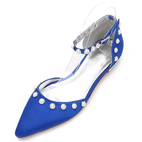 del Zapatos del shoes Tobillo high Boda Tacón Tobillo Hebilla Cerrada a 13 del Perlas Mujeres Blue Elegant de Las del Punta de Alto 5047 Banquete qEBHy
