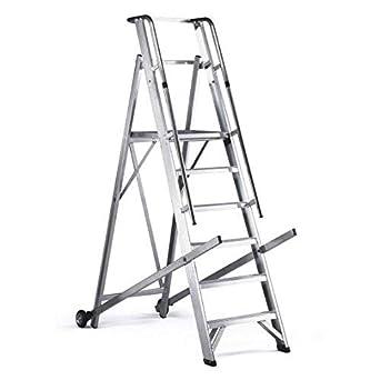 Disset Odiseo PDL0290 Escalera para almacenes con plataforma 500x450 mm En aluminio.4 peldaños de 80 mm. Plegable.: Amazon.es: Industria, empresas y ciencia
