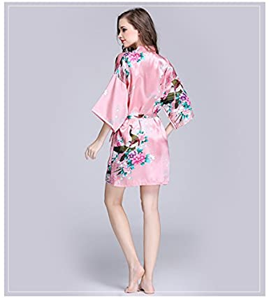 b7320eaa08 Daiwenwo Women Bath Robe Summer Faux Silk Floral Lady Bathrobe Female  Nightwear Sleep Kimono WP065  Amazon.in  Clothing   Accessories