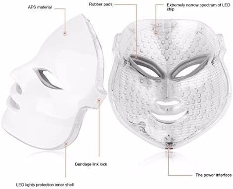 xuehaostore LED Photon Therapy 7 Colores Tratamiento Ligero Facial Beauty Piel Rejuvenecimiento Pototherapy Máscara (Blanco)