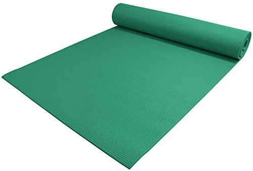 YogaAccessories 1/4' Thick High-Density Deluxe Non-Slip Exercise Pilates & Yoga Mat, Forest Green