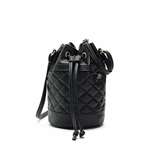 Hoxis Quilted Soft Pebbled Faux Leather Drawstring Bucket Mini Cross Body Shoulder (Black Quilted Satchel)