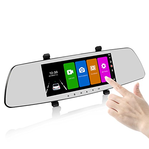 SENDOW Mirror Dual Dash Camera 7 Inch 1080P IPS Touch Screen 170°...