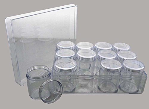 Hawk 12 Plastic Jars With Screw-on Lid In A Clear, Plastic Box by Hawk
