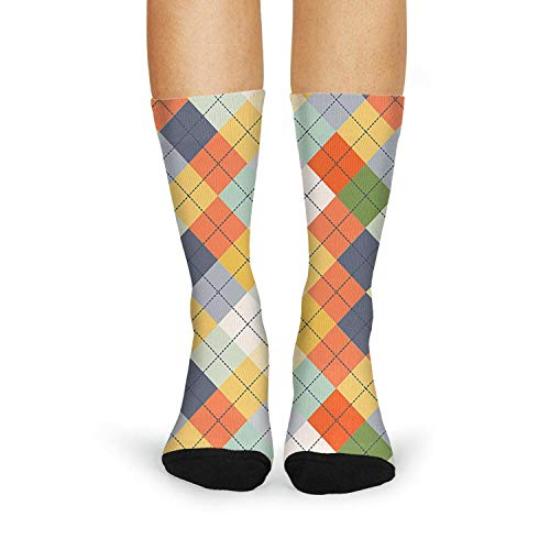 Seamless Argyle Sweater checkerboard Girls' Christmas Stockings Lightweight Multi -