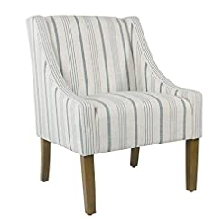 Farmhouse Accent Chairs HomePop Modern Swoop Arm Accent Chair, Blue farmhouse accent chairs