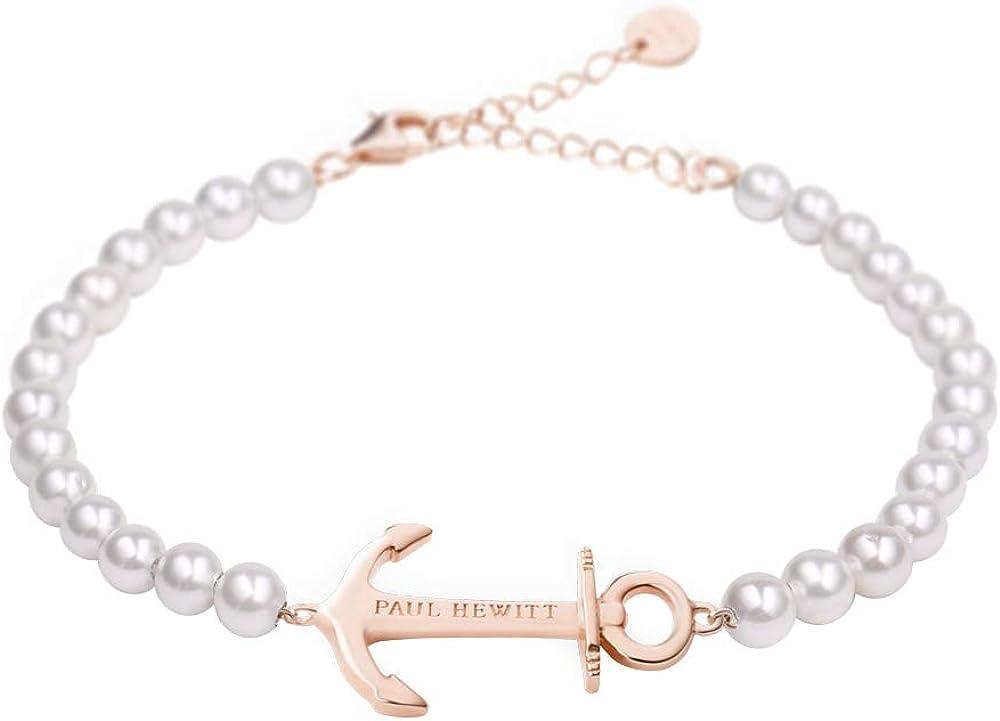 Paul Hewitt Anchor Spirit Brazalete de Perlas - Pulsera de Mujer de Acero Inoxidable con Ancla (Chapado en Oro Rosa), Pulsera para señoras