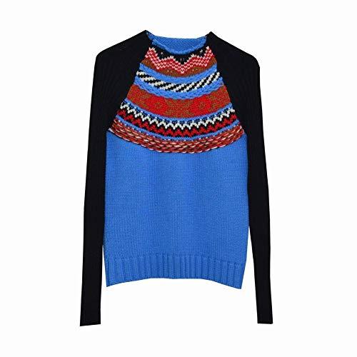 Contrastantes Col Haut Pop Pull Mode Hiver De Noir Et Vent Automne Sort S Bleu Coutures Nationale Dress Good pXw0II