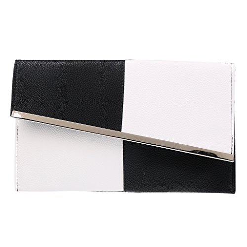 PU Envelope Shoulder MagiDeal amp;White Chain Bag Clutch Women Evening Bag Purse Black 5r58Ra