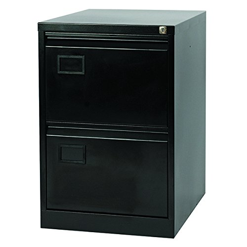 Jemini 2 Drawer Black Filing Cabinet, Metal, 62.2 x 47 x 71.1 cm AOC2-AV1
