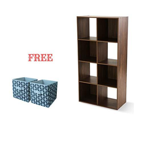 Walnut Storage Cube - Mainstay.. Cube Storage Organizer (8 Cube, Walnut with Bin)