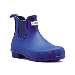 Womens Hunter Original Chelsea Wellingtons Waterproof Rain Ankle Boots - Azure - 5