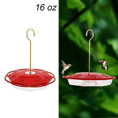 Juegoal 16 oz Hanging Hummingbird Feeder with 8 Feeding Ports