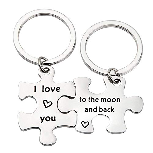 MYOSPARK I Love You to The Moon Back Keychain Couple's Gift Puzzle Piece Keychain Boyfriend (Moon Back Keychain) by MYOSPARK