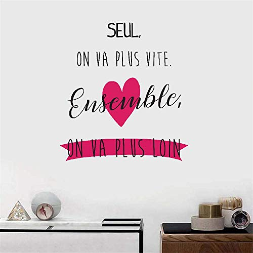 Wall Decal Wall Written Vinyl Wall Decals Quotes Sayings Words Art Deco Lettering French Quote Seul On Va Plus Vite Ensemble On Va Plus Loin for Living Room Bedroom