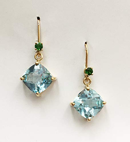 - 14k Yellow Gold Earring with Blue Topaz and Chrome Tourmaline