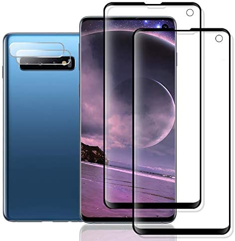 Galaxy S10 Screen Protector + Camera Lens Protector via JKPNK, [2 Pack + 2 Pack] HD [Bubble-Free] [Edge Covered] Screen Protector for Samsung Galaxy S10