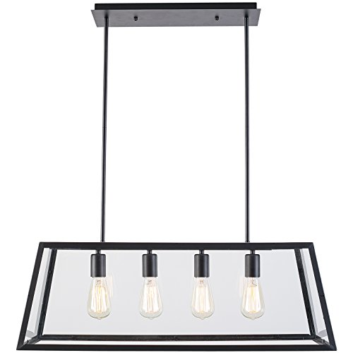 Light Society Morley 4-Light Kitchen Island Pendant, Matte Black Shade with Clear Glass Panels, Modern Industrial Chandelier ()