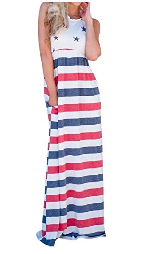 Coolred Pockets Elastic Day Independence Sleeveless Dress Waist As1 Women Baggy rqwTrOX