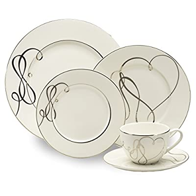 Mikasa Love Story 40-Piece Dinnerware Set, Service for 8 - A wide variety of accessories and serving pieces allow you to make a complete dining statement 40-piece dinnerware set includes 8 each of: 10-3/4 inch dinner plate, 8-1/2 inch salad plate, 7-inch bread and butter plate, 6-inch saucer, 9-ounce teacup Made of porcelain; platinum banding - kitchen-tabletop, kitchen-dining-room, dinnerware-sets - 41i8NCk342L. SS400  -
