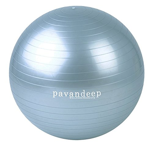 2000lbs Exercise Stability Ball By Pavandeep Anti Burst Perfect for Pilates Yoga Gym Fitness Fitballing | Use As Desk Chair | Pump Included 65cm Phthalate FREE
