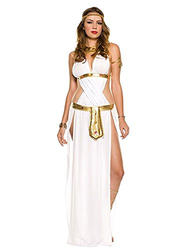 Sexy Cleopatra Dress (Cuteshower Egyptian Roman Greek Goddess Adult costumes Cleopatra Halloween Sexy Goddess Performance for women)