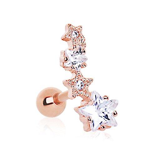 eeddoo® Or Rose Steel–Boucles d'oreille–Étoile filante–Cristal (Boucles d'oreille Piercing pneus Stud Boucles d'oreilles Bijoux Bijoux pour Homme et Femme Or Rouge Rosé)