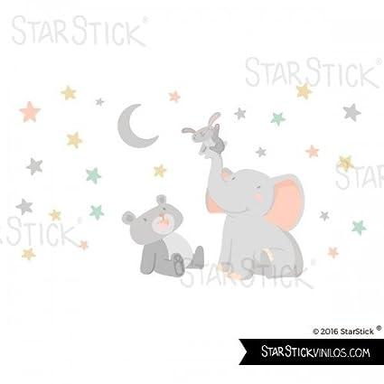 Vinilos infantiles beb/é Peque/ño Vinilo beb/é Animales tocando la luna gris 120x70 cm T1