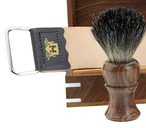 Cut Throat Wooden Shaving Razor Wooden Black Badger Hair Shaving,Leather Strop & DOVO