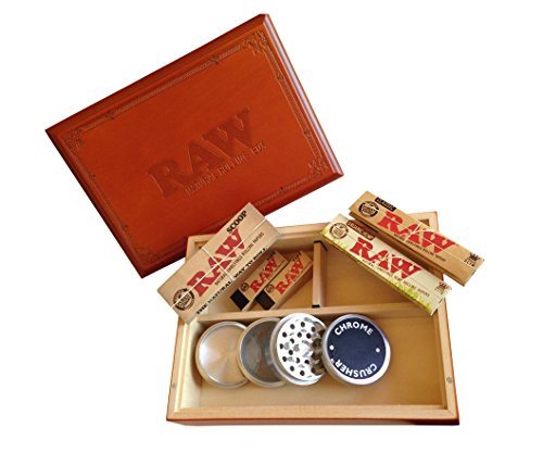 Large Raw ® Special Wood Rolling Box (7 Items Bundle) 4pc Grinder, Organic King Paper, Tips, Scoop Card Tray (Chrome Grinder compare prices)