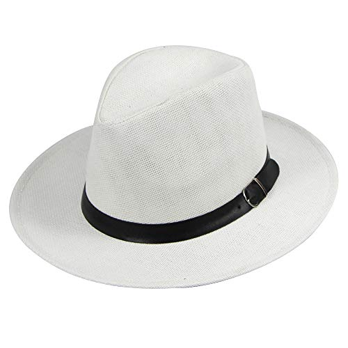 Women's Classic Wide Brim Fedora Hat with Belt Buckle Felt Panama Hat Summer Beach Hat