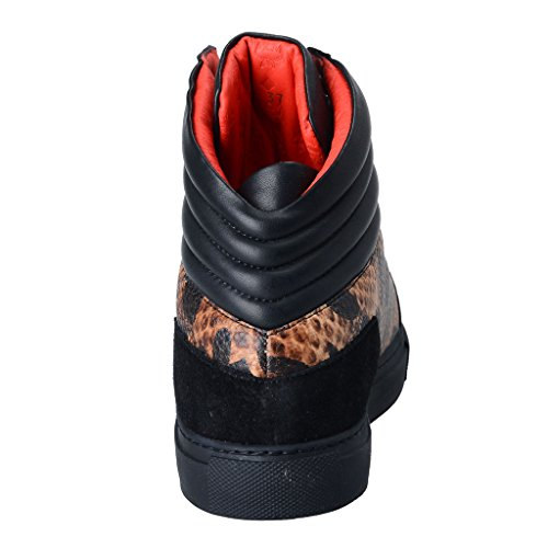 Mcm Visetos Donna Giaguaro Nero Hi Top Sneakers Moda Scarpe Jaguar Nero