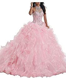 Long Beaded Ruffles Quinceanera Dresses