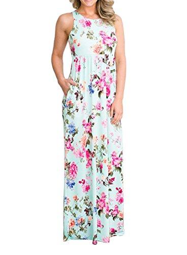 Floral Print Green (roswear Women's Summer Casual Floral Print Racerback Sleeveless Tunic Maxi Dress Light Mint X-Large)