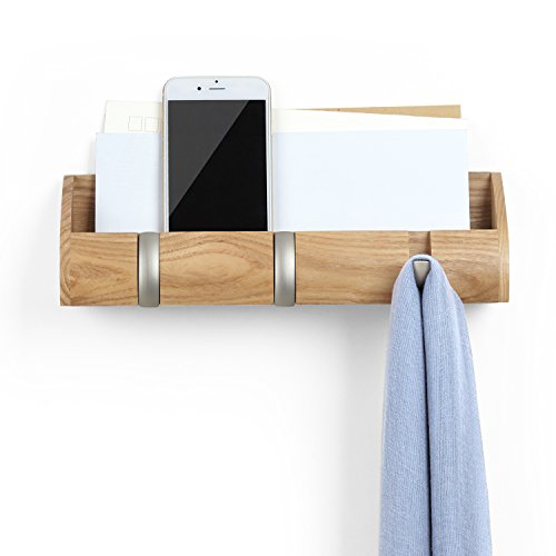 Umbra Cubby Mini Organizer – with Hooks and Compartment, Great for Holding Keys, Phone, Chargers, Mail, and Oher Goods, Compact Storage, Natural