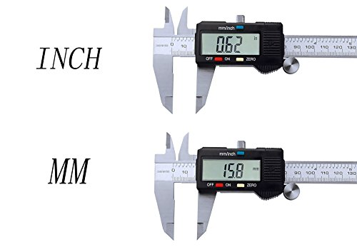 Onebycitess Metric Digital Caliper with LCD Screen 0-6 inch/150mm Stainless Steel Electronic Depth Gauge Measuring Tools by Onebycitess (Image #3)