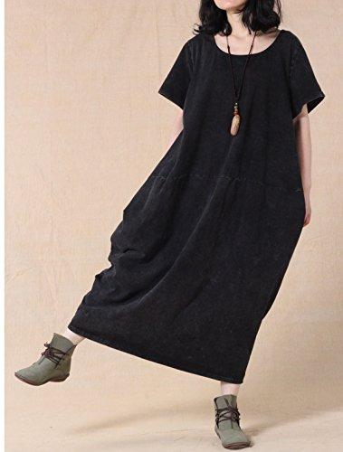 Vogstyle - Vestido - vestido - para mujer Style-1 Noir Manches Courtes