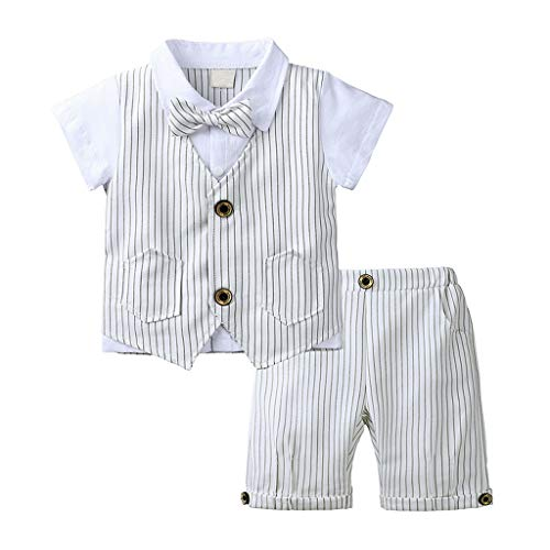 TIFENNY Little Gentleman Suit Toddler Baby Boys Shorts Sets Bow Tie T-Shirt Plaid Striped Waistcoat+Shorts Outfit Beige