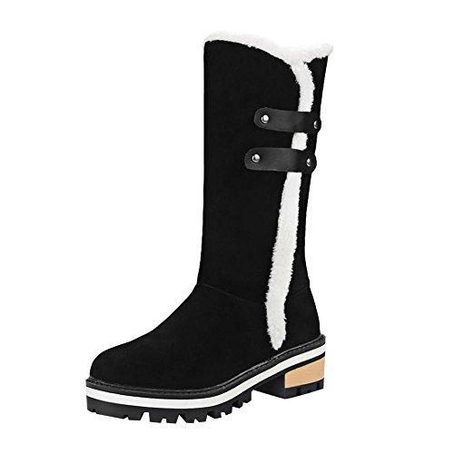 Mee Shoes Damen chunky heels Nubukleder runde langschaft Stiefel Schwarz
