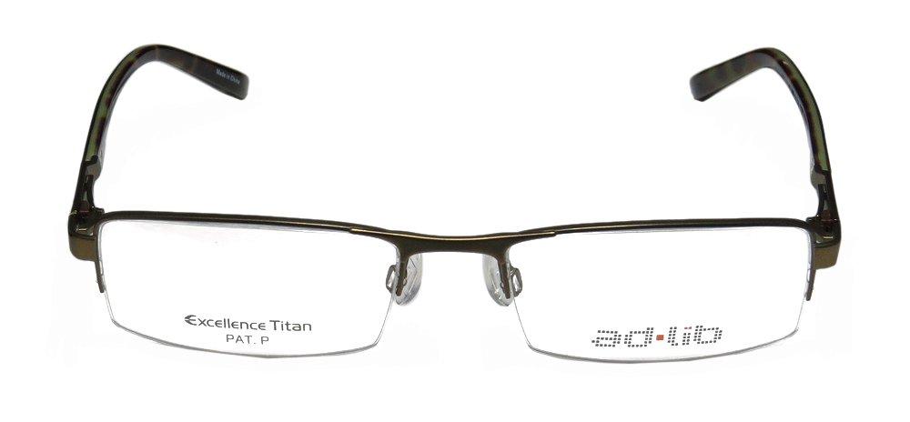 Ad.lib 3119 Mens/Womens Rectangular Half-rim Titanium Eyeglasses/Eyeglass Frame (53-18-135, Olive)