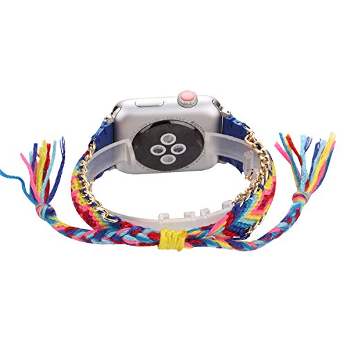 Bohemian Style Manual Braided Multi-Color Knitting Wool Jointed Leather Bracelet Replacement Compatible with Apple Watch Series 4 40mm and Series 3/2/1 38mm - Navy Blue