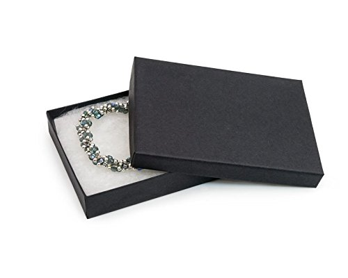 15 Pack Cotton Filled Matte Black Color Paper Cardboard Jewelry Gift and Retail Boxes Size: 7