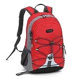 Outsta Trekking Travel Bag, Waterproof Outdoor Backpack Bookbag Children Boys Girls School Classic Basic Casual Daypack for Travel (Red)