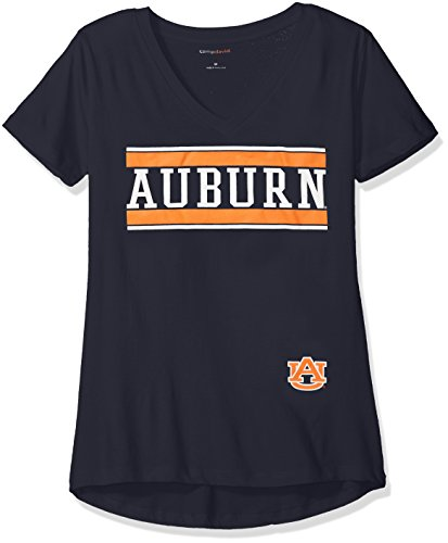Diva Short Sleeve T-shirt (NCAA Auburn Tigers Diva Women's Perfect Short Sleeve V-Neck Tee, Navy, Medium)